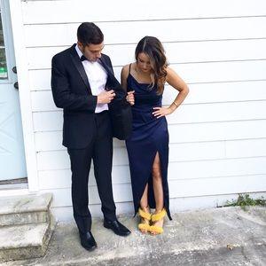 Satin navy blue dress